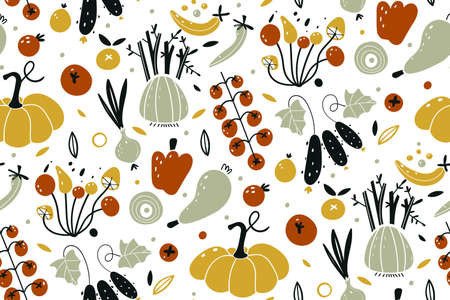 Vector seamless pattern with vegetables isolated on white background. Autumn harvest. Fresh vegetables and fruits. Vegetarian bio food. Vegan, farm, organic, natural background. Scandinavian style.