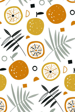 Vector seamless pattern with fresh oranges and leaves. Orange tropical fruits. Fruit repeated background.