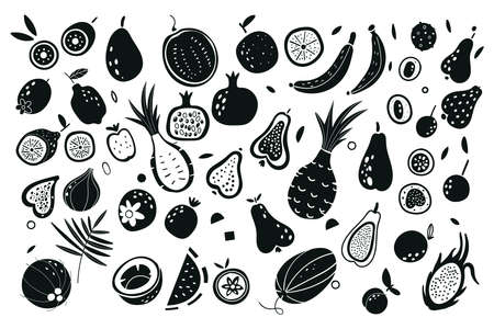 Fruit and vegetables silhouettes. Vector illustration. Exotic fruits. Print for bags, labels for stores, packaging, advertising. Collection farm product restaurant menu, market label. Vettoriali