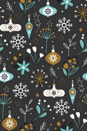 Seamless vector pattern with glass balls, plants and snowflakes on a light gray background. Scandinavian Christmas illustration.Nature design. Season greeting. Winter Xmas holiday.