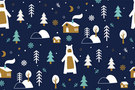 Seamless background with winter forest, bear, winter forest, snowflakes. Childish seamless pattern. Trendy scandinavian holiday vector background. Perfect for kids apparel,fabric, textile. Ilustracja