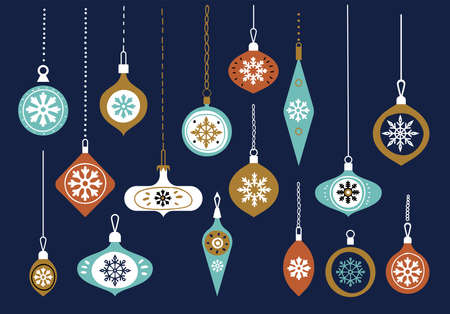 Hanging glass balls. Set of graphic elements for cards. Christmas balls many baubles banner colorful. Collection of Christmas decorations with decorative balls, winter design. Scandinavian style.