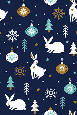 White hares in the forest with snowflakes and Christmas glass balls vector seamless pattern isolated on blue background. Creative kids scandinavian style texture for fabric. Christmas background. Ilustracja