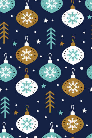 Snowflakes with Christmas glass balls vector seamless pattern isolated on blue background. Christmas background. Holiday decoration template. Hand drawn baubles. Greeting card. Scandinavian style. Ilustracja