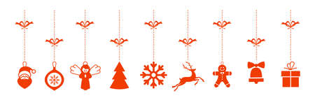 Christmas greetings ornament elements hanging white background. hanging christmas icons and new year greetings.
