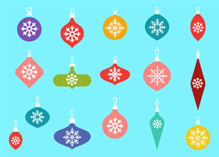 Christmas baubles hanging ornaments. Hand drawn Christmas ball illustration with greetings. Glass toys with snowflakes. Vector flat icons.