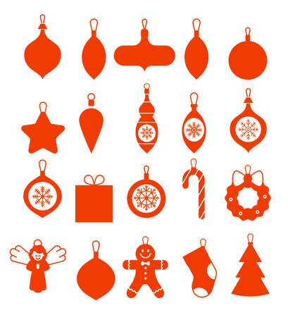 ollection of hanging christmas icons. Set of elements for Christmas design. Collection of beautiful baubles. Flat Christmas Icons. Doodle Big Set. Silhouettes of glass toys. Christmas glass balls. Ilustracja