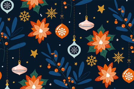 Seamless pattern with floral. Design of Christmas decoration. Christmas background with branches, berries, flowers and glass balls.Can be used for winter holiday invitations, greeting cards, prints.