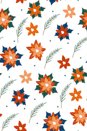 Christmas texture with plants isolated on white background. Cute hand drawn in scandinavian style. New year seamless pattern with branches, berries and flowers. Christmas floral Ilustracja