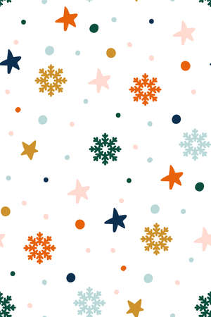 Abstract Christmas pattern with snowflakes, circles and stars. Children s texture. Scandinavian style. New year seamless pattern. christmas card with snowflake border vector illustration