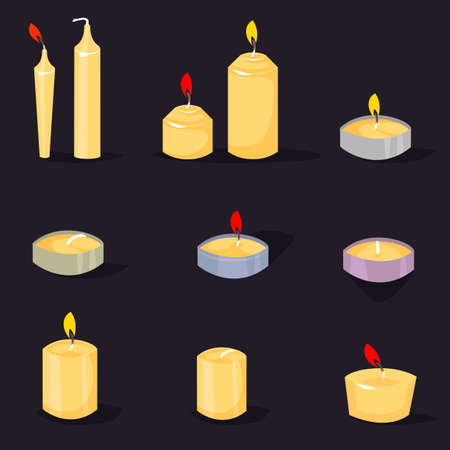 Candles in a flat style. Cartoon burning candles with candle holder and fire wax flame bright decoration flat vector.