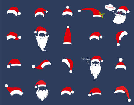 Santa Christmas hat decoration. New Year. Vector illustration in a flat style isolated on a blue background.