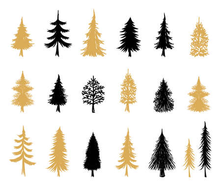 Modern Christmas Trees. Scandinavian style. Christmas holiday symbols. Winter Holiday. Hand drawn elements. Silhouettes of trees.