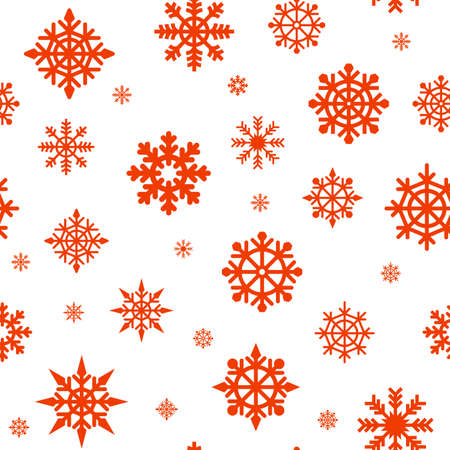 Seamless pattern with red snowflakes on a white background. Abstract New Year pattern. snowflakes line illustration. Abstract texture.