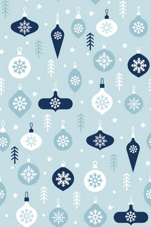 Hand drawn Christmas pattern on a blue background. Christmas pattern clipart. Hanging Glass Baubles. Festive background. Scandinavian texture. balls icons.