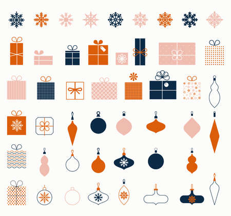 Christmas snowflakes. New Year gifts. Decorative design elements in flat style for holiday and greeting cards. Christmas baubles. Set of winter icons. stylized gift boxes.