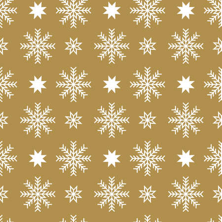 Vector seamless pattern with snowflakes and stars on a silver background. Christmas background. Abstract geometric