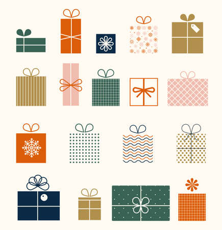 Christmas set of gifts in flat style isolated on white background. New Year s boxes. stylized gift boxes. Set of graphic elements for Christmas cards. Birthday gift