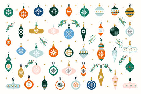 Glass Christmas tree toys. Set of hanging Christmas baubles isolated on white background. Decorative design elements in flat style for new year and holiday