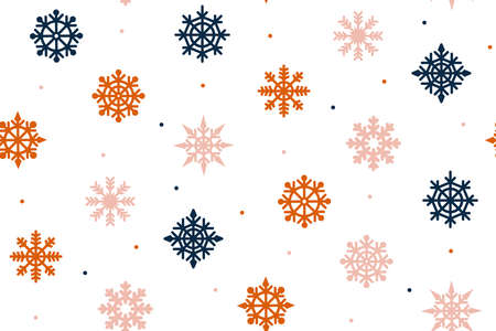 Christmas texture with red and blue snowflakes on a white background.