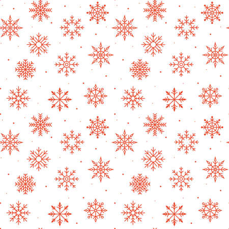 Red Christmas snowflakes on a white background. Seamless ornament for decor, wallpaper, gift paper and decoration of New Years souvenirs. christmas card