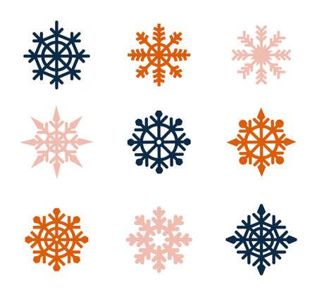 Set of graphic elements for Christmas cards. Snowflakes icons set. Vector drawing. Isolated object on a white background. Set vector snowflakes. Collection of snowflake winter decoration.