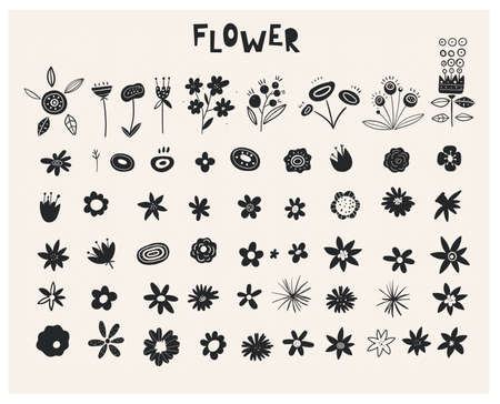 Plants Ink Rubber Stamp Graphics. Handcrafted Branches Floral. Wildflowers - Handdrawn. Set of silhouettes of flowers. Black icons of buds isolated on white background. Set of decorative floral design Ilustracja