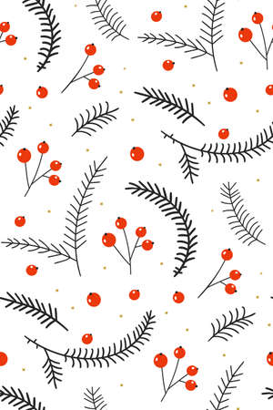 Red berries with fir branches on a white background. Hand drawn floral seamless vector pattern. New year seamless pattern with branches, berries and flowers. Christmas seamless pattern with floral