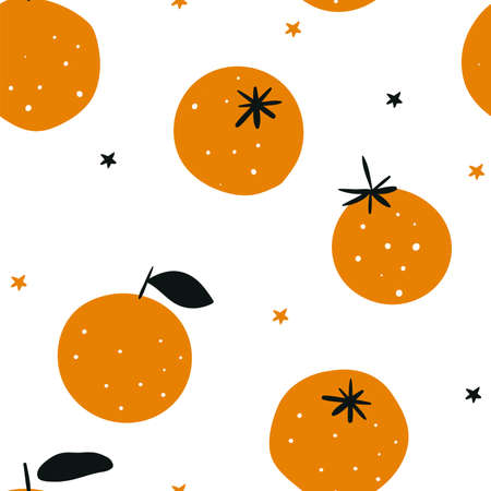 Oranges isolated on white background. Winter background. Christmas seamless pattern with fruits. Fruit oranges. Tropical seamless pattern with red oranges. Ilustracja