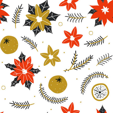 Seamless pattern with hand drawn poinsettia flowers and floral branches and berries, mistletoe, christmas florals.