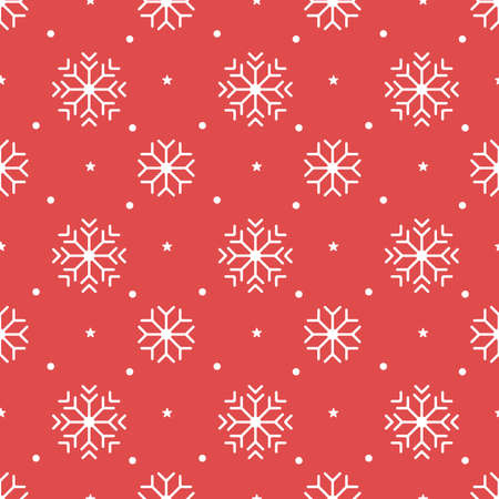 Christmas pattern with white snowflakes on a red background.