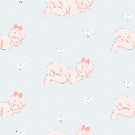 Sleeping newborn. Vector seamless pattern for baby clothes and lingerie. Hand drawn child. Creative vector childish background for fabric, textile. Baby shower isolated template. Vector illustration. Ilustracja