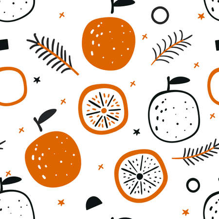 Tropical seamless pattern with red oranges. Fruit repeated background. New Year seamless pattern with oranges and Christmas tree branches. Christmas background with fruits on a white background.