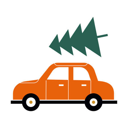 Red car with a green Christmas tree on the roof. Merry Christmas and Happy New Year. Vector flat style illustration.