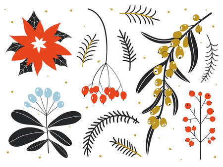 Winter floral set. Collection of Vintage Merry Christmas And Happy New Year. Perfect for cards and posters. Hand drawn vector. Botanical illustrations. Decorative plants and flowers