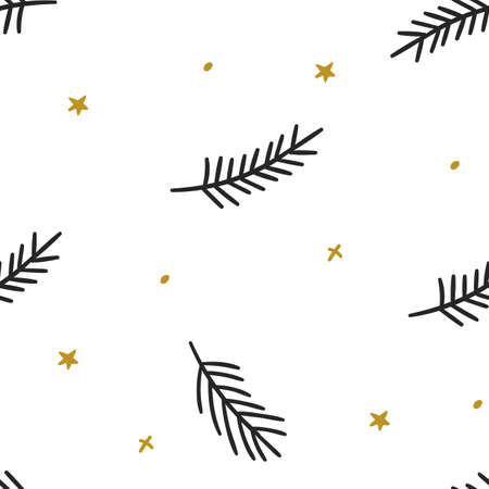 Christmas vector seamless pattern with coniferous branches. Cute hand drawn seamless pattern with fir branches and stars. Great for christmas banners, wallpapers, wrapping, textiles design.