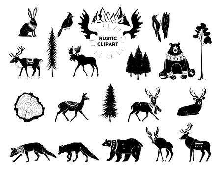 Vector Christmas illustration. Hand drawn design elements. Nursery scandinavian art. Tribal animals. Silhouettes of animals of bear, deer, fox, hare, birds. Winter animals. Forest animals.