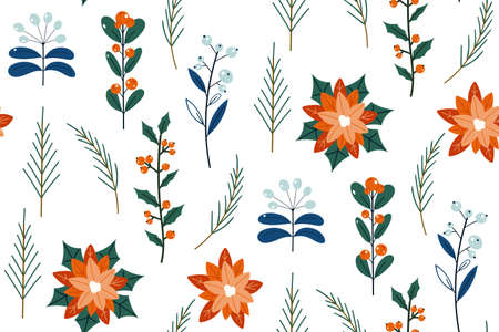 Cute hand drawn winter holidays seamless pattern. Hand drawn flowers, herbs and leaves. Elegant seamless botanical texture, repeated background for textile and wrapping paper design. Vintage botanical