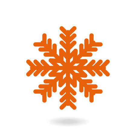 Snowflake freeze in winter red white simple icon. Merry Christmas and Happy New Year. Snowflake icon isolated on a white background. Vector illustration.