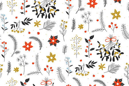 Christmas texture with flowers and plants. Cute hand drawn winter holidays seamless pattern. Wild floral elements. Repeating Scandinavian style line art florals. For fabric, wallpaper, home decor