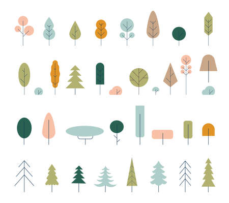 Flat icon tree collection isolated on white background.Green forest.Ecology concept. Tree icon. Green plants with leaves ecology garden botanical. Hand drawn set of Christmas trees.