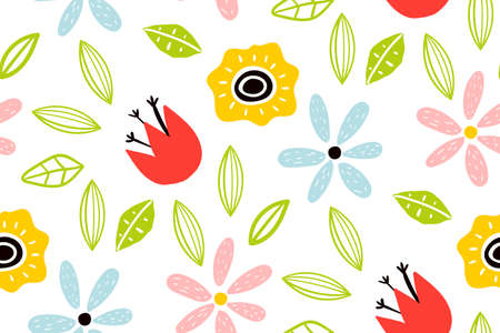 Garden flower, plants ,botanical ,seamless pattern vector design for fashion. Cute pattern in small flower. Small colorful flowers. Creative childish texture for fabric, wrapping.