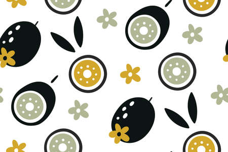 Kiwi seamless pattern. Hand drawn fresh tropical fruit. Doodle fruits. Vector repeat background for colorful summer fabric. Texture with tropical kiwi fruit. summer background with food.