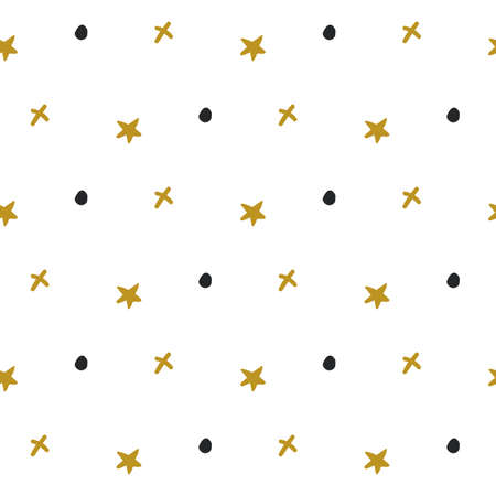 Abstract seamless pattern with gold stars and black dots. Vector texture. Childish cute background. Hand Drawn textures. Trendy Graphic Design for banner, poster, card, cover, invitation, placard Ilustracja