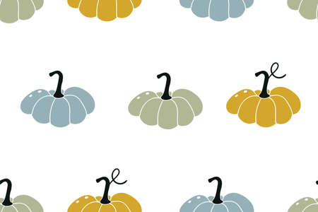 Colourful pumpkins. Seasonal autumn seamless pattern. Vector illustration. October harvest. Organic vegetable garden food. Nature design. Thanksgiving day Ilustracja