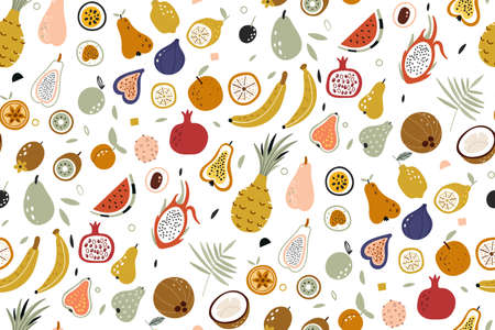 Seamless vector with fruits on white background. Vector repeat background for colorful summer fabric. Hand draw texture. Vector template for cards, banners, print fabric. Tropical seamless pattern