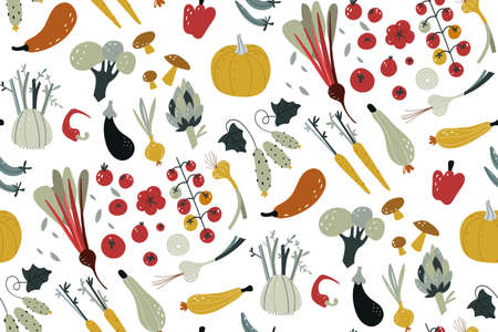 Seamless pattern with hand drawn colorful doodle vegetables. Vegetables flat icons set cucumber, carrot, onion, tomato. Hand draw texture. Vegetarian healthy food vector texture. Vegan, farm, organic Ilustracja