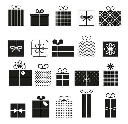 Gift box vector icons set, modern solid symbol collection. Signs, illustration. Set icons as birthday present, box with bow ribbon, surprise package. Vector set of different gift boxes.