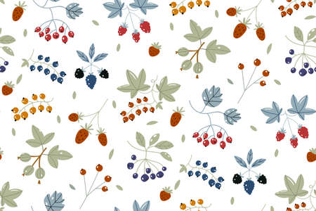 Berries Background. Strawberries, Blueberry, Raspberries, and Blackberry. Wild berry seamless pattern drawing. Hand drawn vector background. Summer fruit set. Food for menu, label, banner