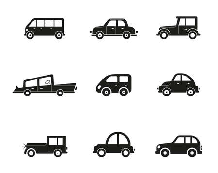 Transportation vehicle. Public cars, taxi, city bus. Road urban public transport, car side view collection isolated set. Transportation vehicle. Cars set. Minivan, cabriolet and pickup. Icons of gray